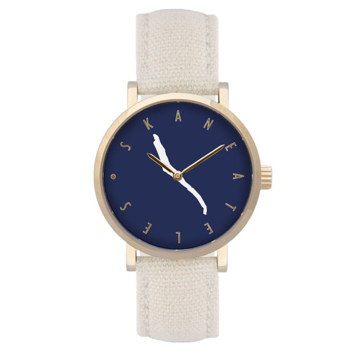 Skaneateles navy dial gold case w/beige/cream strap