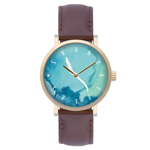 Skaneateles watercolor dial gold case w/brown leather strap