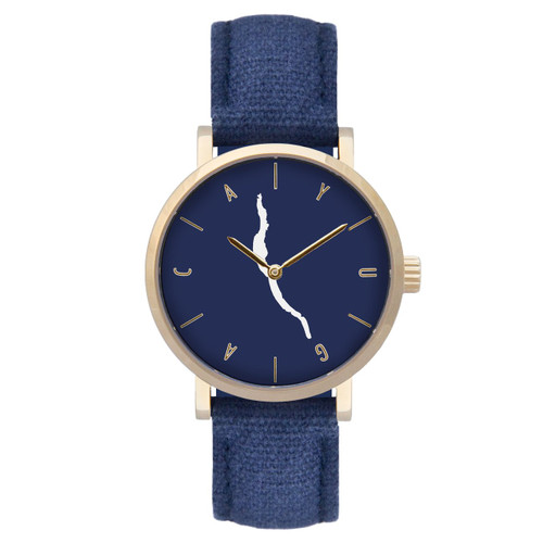 Cayuga navy dial gold case w/navy strap