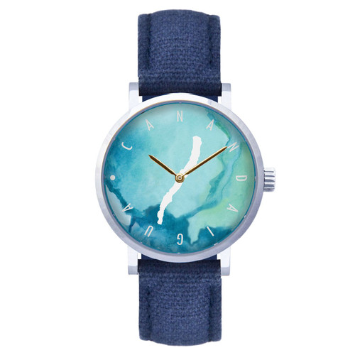 Canandaigua watercolor dial silver case w/navy strap