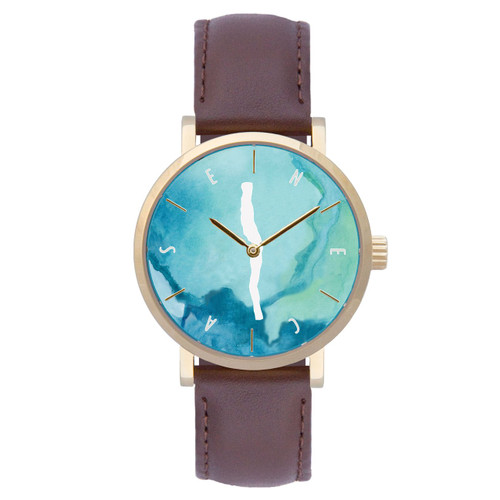 Seneca watercolor dial gold case w/brown leather strap