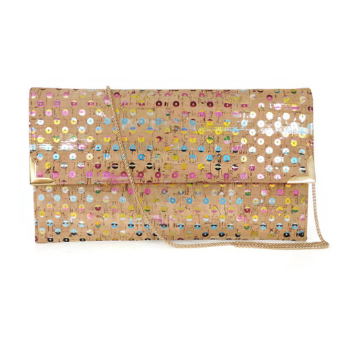 FO597 Folio Clutch- Rainbow Sequin Cork