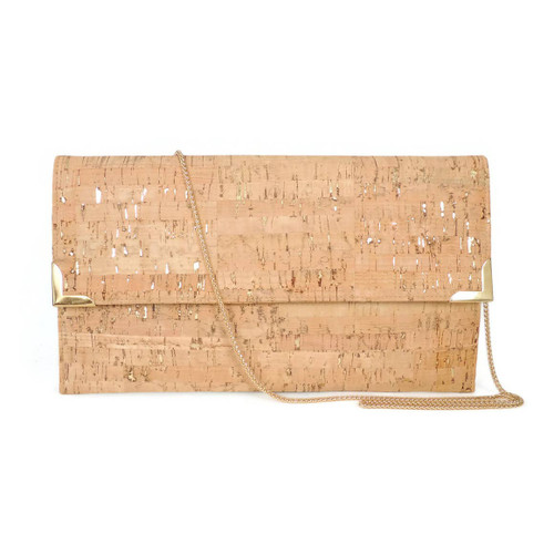 FO513 Folio Clutch- Cork Dash Gold w/ Chain