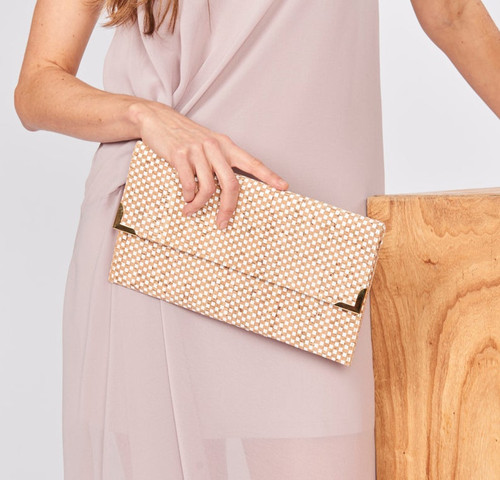 FO595 Folio Clutch- White Check Cork w/ Chain