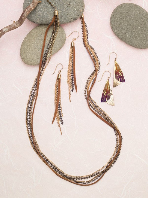 10348 Brown Delaney Fringe Earrings