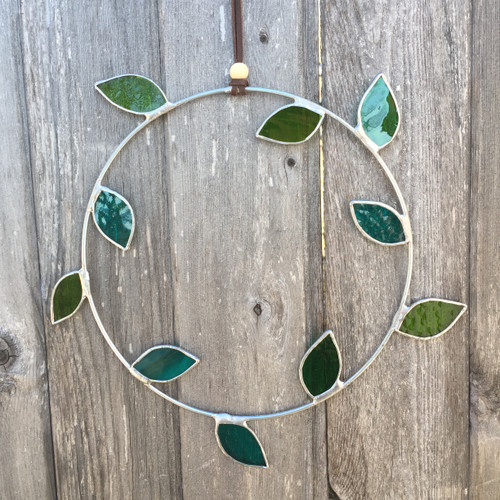Stained glass leaf wreath