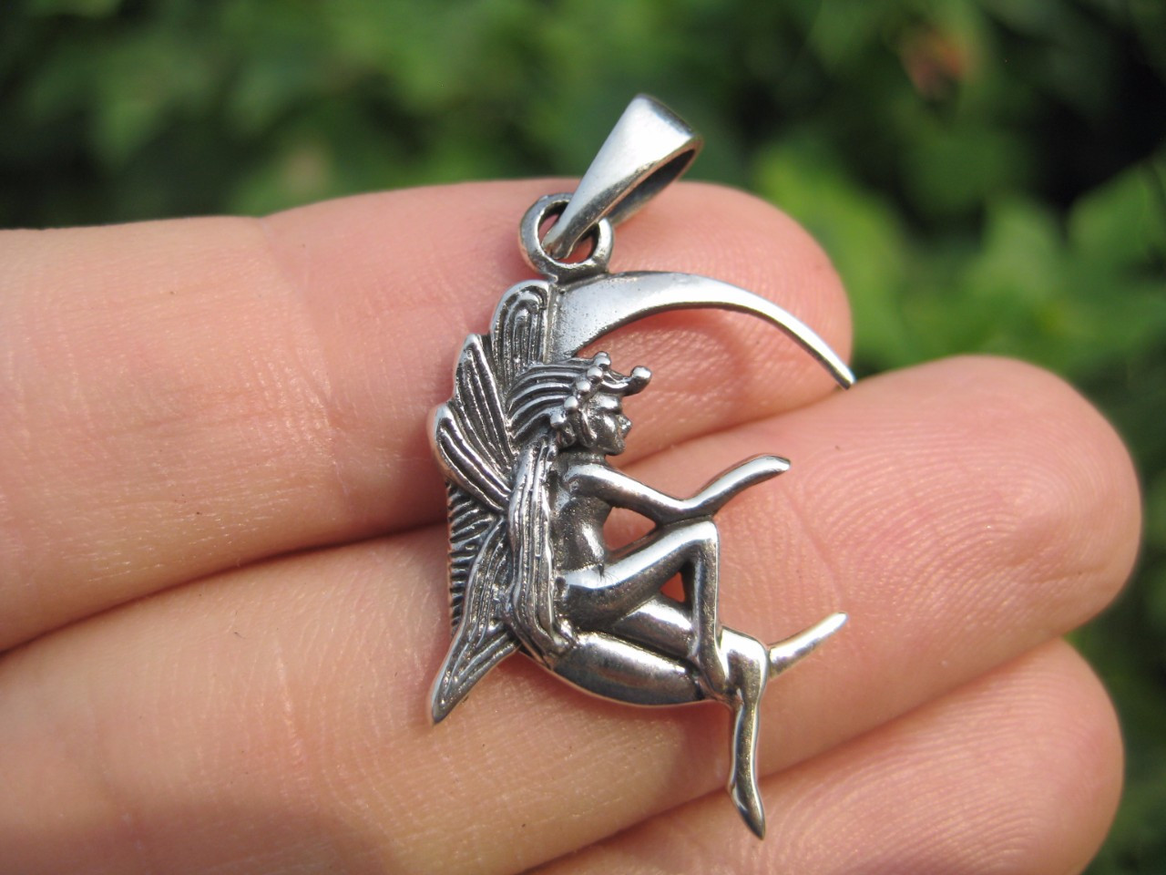 925 sterling silver Naked Nude Lady fairy on moon pendant necklace A2