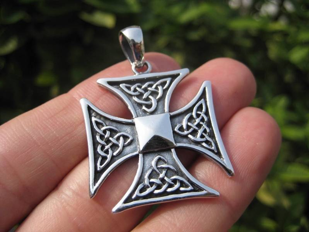 925 Silver Knight Knights Iron Cross Templar Pendant Jewelry art A12