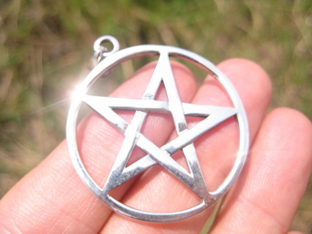 Argent 925 inversé Pentagram Pentacle Pendentif A2776