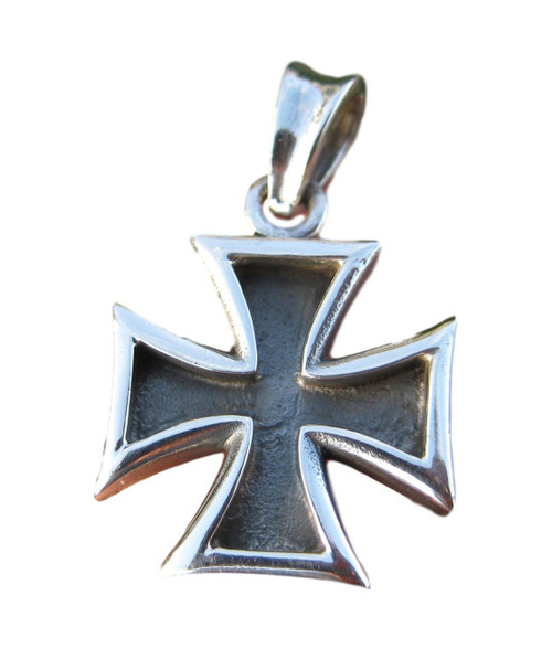 925 Silver Knight Knights Cross Iron Cross Templar pendant Necklace A7