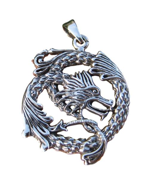 925 Silver Dragon Pendant Necklace