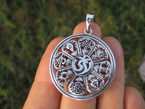 925 Silver Ohm nice symbol Pendant Necklace
