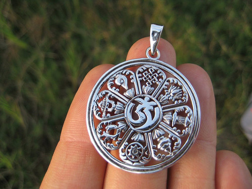 925 Silver Ohm 9 Spiritual Symbols Mandala Pendant Necklace