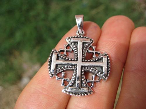925 Sterling Silver Jerusalem Cross Fivefold Cross Crusaders Cross Emblem Medal Pendant Necklace A12