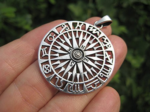 925 Silver Compass Pendant Necklace Thailand Jewelry Art A22