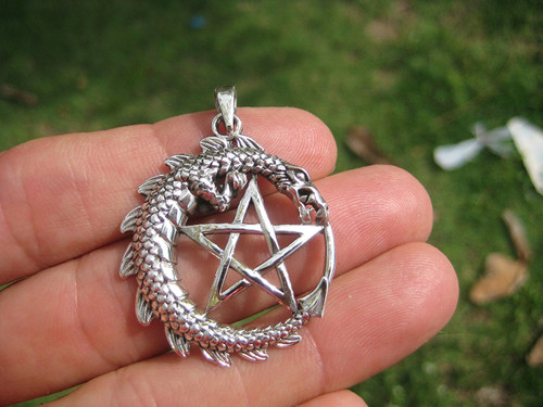 925 Silver Dragon Pentagram Pendant Wicca Necklace A12