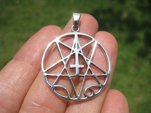 925 Silver Pentacle Inverted Cross Pentagram Magic Witch Goth Gothic Pendant Necklace A12