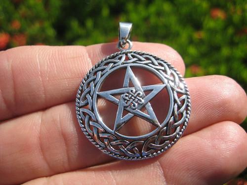 925 Silver spider black widow star pentagram pendant necklace