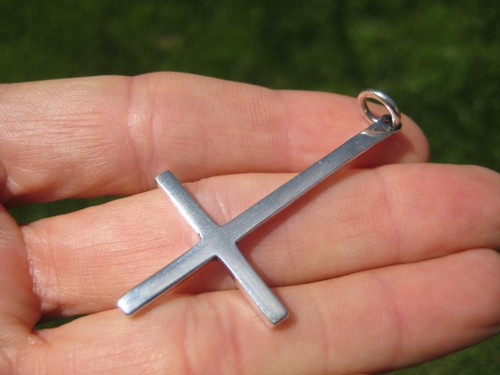 Large 925 Sterling Silver Inverted Upside Down Satanic Cross Pendant Necklace A7