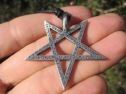 Metal Pewter Star Inverted Pentagram Pentacle Pendant Necklace A45