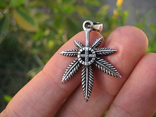 925 Silver Marijuana hemp cannabis pendant necklace Thailand jewelry art A2