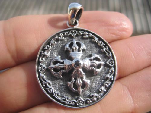 925 Silver Viswa Vajra Pendant Necklace Amulet A7