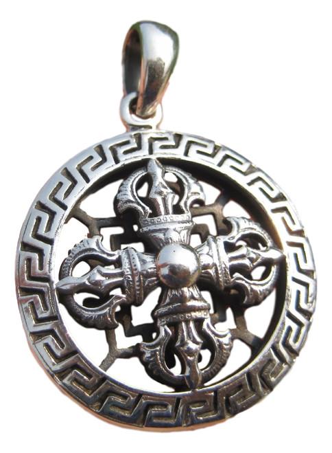 925 Silver Viswa Vajra Dorje Mandala pendant necklace jewelry art A3