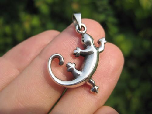925 Silver Gecko Lizard Salamander pendant necklace Thailand jewelry art A2