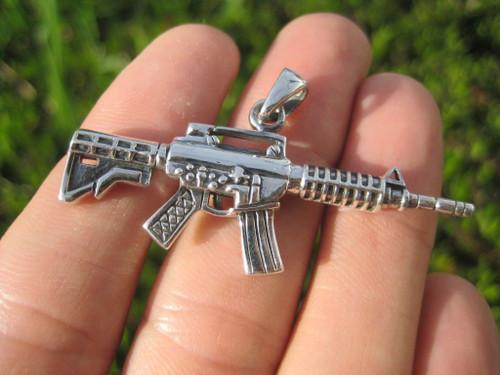 925 Sterling Silver Machine Gun Pendant Necklace A7