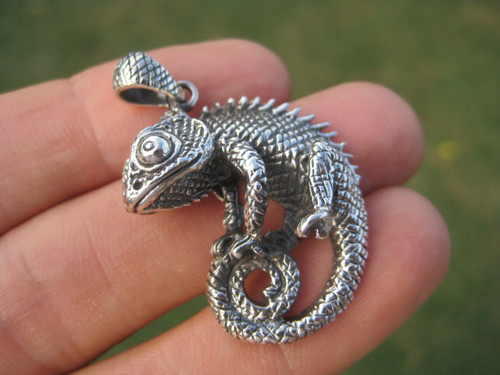 925 Silver Jackson Camelian Gecko Lizard Pendant necklace Jewelry Art
