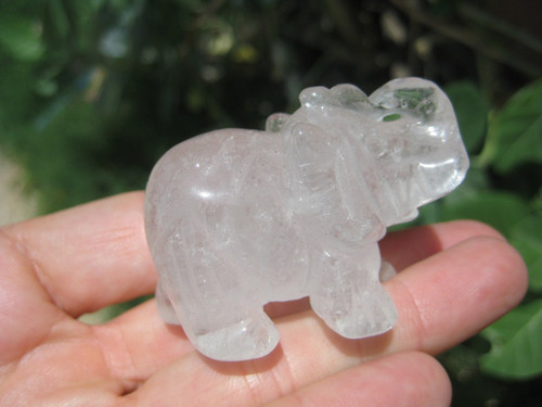 Natural Rose Quartz Elephant Carving Statue Thailand Stone Mineral Art UN215