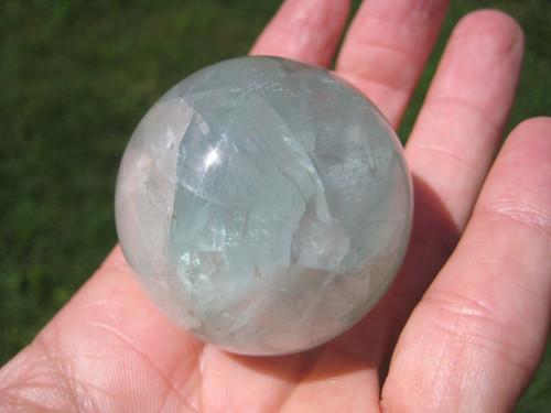 Natural Fluorite Quartz Crystal Ball Carving Thailand Stone Mineral Art A22