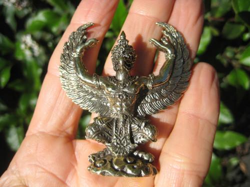 Brass Metal Garuda Bird God Statue Snake Bite Amulet Statue