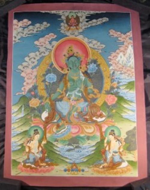 24 K Gold Green Tara Thangka Thanka Tanka paintng Nepal Himalayan Art