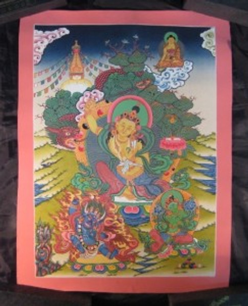 24 K gold Manjusri Manjushri Thangka Thanka Painting Nepal Dragon Border A2