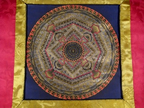 24 K Gold Ohm Mandala Thangka Thanka Painting w/ Brocade Nepal art