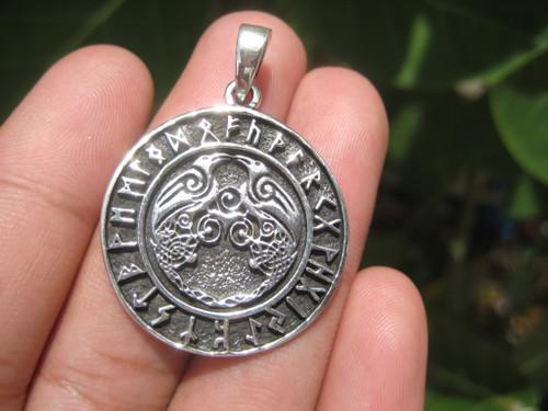 925 Sterling Huginn Muninn Raven birds of Odin Viking Germanic Runes Pendant A7