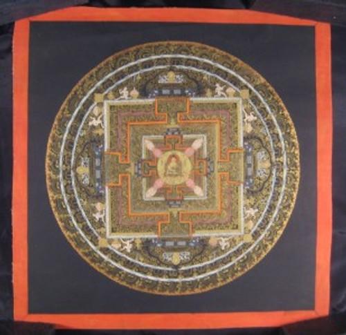 24 K Gold Shakyamuni Buddha Mandala Thangka Thanka Painting Nepal A2