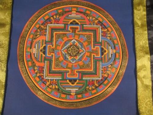 24 K Gold Viswa Vajra Thangka Thanka Painting w/ Brocade Nepal Himalayan art