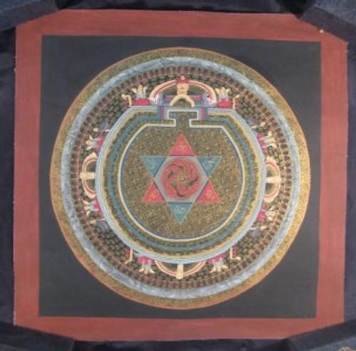Full View 24 K Gold ohm star mandala thangka painting from Nepal