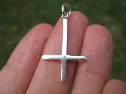 Small 925 Sterling Silver Inverted Upside Down Satanic Cross Pendant A9