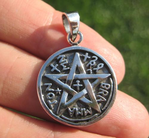 925 Sterling Silver Wicca Pentagram Pendant Necklace A42