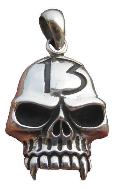 Front view large silver skull pendant from Thailand number 13