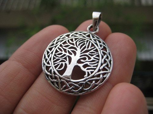 Front View tree of life 925 Silver Pendant Necklace Thailand