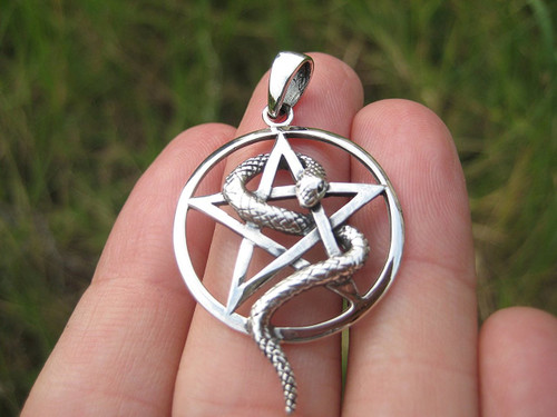 Front View 925 Silver Pentagram Snake Pendant From Thailand