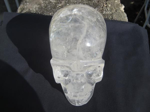 Large quartz crystal skull image front view