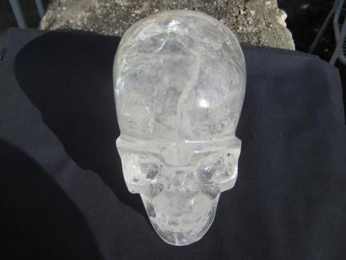 Large quartz crystal skull image front view