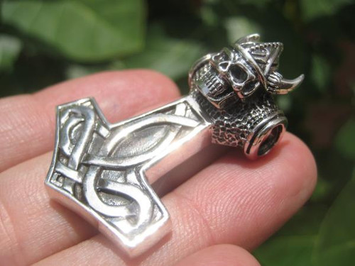 Silver Thor Helmet Skull Pendant left side photo