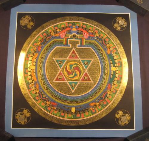 Photo 1 24 K gold Ohm Star Mandala Thangka