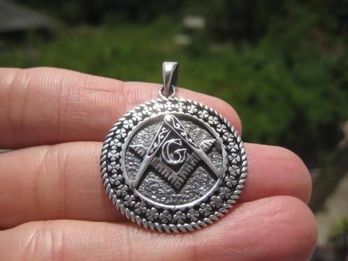 925 Silver Free Mason Masonic Pendant Necklace Thailand jewelry Art A12